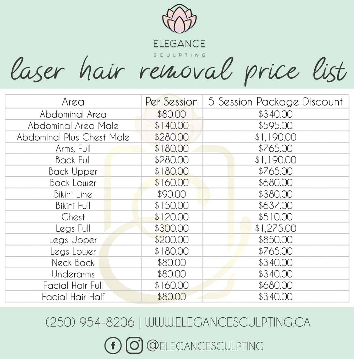 Laser Hair Removal Pricing | Parksville B.C | Elegance Sculpting