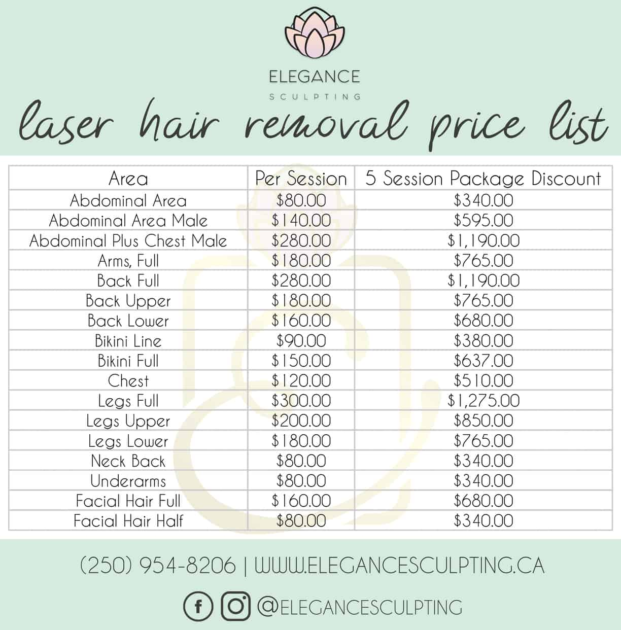 Laser Hair Removal Pricing | Parksville B.C | Elegance Sculpting